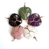 Stone Heart Necklace Natural Energy Generator Original Nature Purple Green White Crystal Gemstone Female Women Girls Turquoise Stones Pendant Wholesale Jewelry