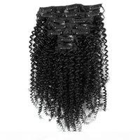 African American Afro Kinky Clip Clip in estensioni dei capelli 7 pz 16 clip Capelli umani peruviani Nero Nero Nero Nero Clip riccio in estensioni dei capelli