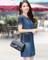 S-5XL ladies lace vintage denim dress loose short sleeve jean dresses Casual Natural vestidos maxi ZHL6415