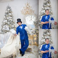 Royal Blue Mens Suits Handsome Slim Fit Groom Beading Wedding Tuxedos Business Prom Party Blazer Jacket (Jacket+Pants)