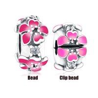 Fit Original Pan Charme Pulseira Autêntico 925 Prata Cor-de-rosa Esmalte Esmalte Espaçador Espaçador Bead para fazer Mulheres Verão Berloque