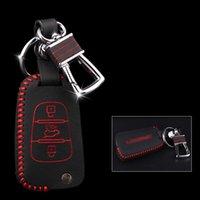 Chaveiros Marca de Alta Qualidade Couro Genuíno Controle Remoto Chave Chave Capa Carteira Capa Para Kia K2 / K5 / Sorento / Carens