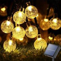 Солнечные лампы Fairy Tale Crystal Ball String Lights Водонепроницаемый Открытый Веревочный Сад Венок Рождественский Украшение Дома