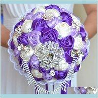 , Parti Eventswedding Gelin Buketleri El Yapımı Çiçekler Peals Kristal Rhinestone Gül Malzemeleri Gelin Holding Broş Nişan Düğün DVKK