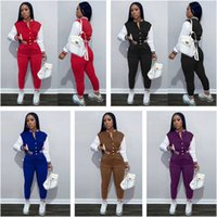 tracksuits Women Designers Clothes 2021 color blocking women's jacket set single breasted splicing long sleeve baseball suit two piece set