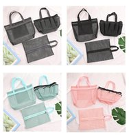 beach bag Multi-purpose handbag portableTransparent Mesh shoe storage bags for men and women foldable Travel to receive 4Colors GWC7491