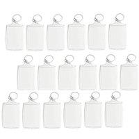 100pcs Photo Keychain Rectangle Transparent Blank Acrylic Insert Photo Picture Frame Keyring Key Holder Diy Split Ring