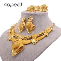 Set di gioielli Nuovo Dubai 24k oro colore ornamento per le donne collana orecchini braccialetto anello anello africano wedding moglie regali gioielli set 982 T2