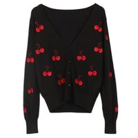 Suéteres de mujer Lunoakvo Cherry Print Suéter Cardigan Mujeres Dulce Otoño Invierno Damas de manga larga Tops de un solo pecho Mujer