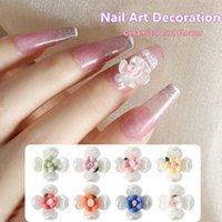 Nail Art Decorations 5 Pcs Set Flower Decoration Ins Style Exquisite Sweet Ceramic Pearl Four Petal Manicure Accessories