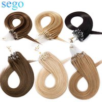 """SEGO 14""""-24"""" 0.5g S 100pcs Straight Bead Non-Remy Loop Human Hair Micro Ring Extensions"""