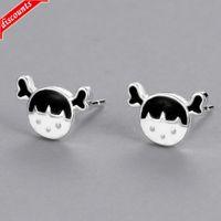 Korean personalized gutta percha little girl Earrings simple creative funny cute cartoon small fresh ear jewelry ked-3307
