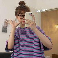 Women's T-Shirt Stripe Vintage Ins Print Loose Female Korean Harajuku T-shirts Tops Japanese Kawaii Ulzzang Clothes For Women