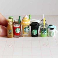 10 adet 1/12 Minyatür Dollhouse Kahve Fincanı Modeli Dondurma İçecekler Mini Pretend Bebek Gıda Oyuncak Aksesuarları Oyna
