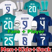 Gerçek Madrid Formalar 21 22 Futbol Futbol Gömlek Alaba Tehlike Benzema Asensio Modric Marcelo Camiseta Erkekler + Kids Kiti 2021 2022 Casemiro Kroos Isco Vini Jr. Camavinga