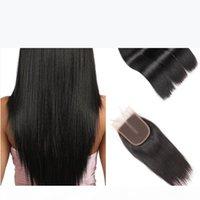 Hotlove Человеческие волосы пакеты с закрытием Малайзийская девственница прямые 3 пакета с закрытием 3 волнистые части Большое качество Cheap WEFT 325G-350G лота