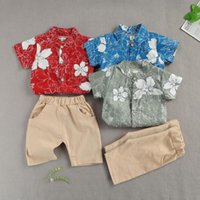 Clothing Sets 1-5Years Toddler Kids Baby Boys Summer Clothes Short Sleeve Flower Print Shirt Top+Solid Color Shorts 2pcs Outfits Set