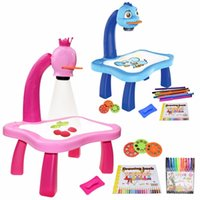 Children Led Projector Art Drawing Table Toys Kids Painting Board Desk Arts Crafts Educational Learning Paint Tools Toy for Girl 103