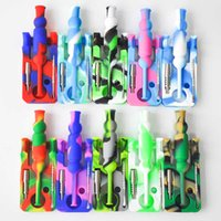 with Collector kits Silicone 14mm joint Ti Nectar Nail nectar collector oil glass bongs silicone water Pipe da