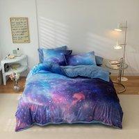 Bettwäsche-Sets Sterne Mond Sternenry Galaxy Bettbezug Set 4 stücke Twin Full Queen Velvet Fleece Bett Blech Kissenbezüge für Mädchen Jungen Teenager