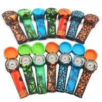 다채로운 위장 흡연 실리콘 담배 파이프 Protable 손 실리콘 파이프 유리 봉에 대 한 carb 모자와 함께 물 연기 dab rig dhl
