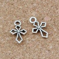 200 pcs / lotes liga de prata antiga Hollow Cristão charme charme pingentes para jóias fazendo pulseira colar conclusões 10x17mm a-277