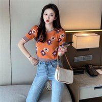 Women's T-Shirt Bare Midriff Fashion Girl Summer Knitted Jacket Slim Short Clothes Women Tops Sleeve O-neck T Shirt Cropped