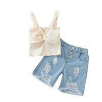 아이 의류 세트 소녀가 복장 아기 옷 아기 옷을 입고 여름 아동복 탱크 탑스 조끼 구멍 데님 반바지 청바지 바지 2pcs B7595