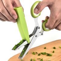 سكاكين سكاكين المطبخ، شريط الطعام المنزلي، مقص هوم جاردنكيتشن، متعدد الأغراض عشب قطع مقص المطبخ مقصات الفولاذ المقاوم للصدأ 5 شفرات