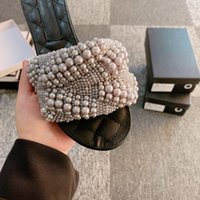 Женщины дизайнеры плоские слайды сандалии тапочки Chaoliu Pearl Woman Book ноги ноги безупречно импортных шариков DIY, удобные дома