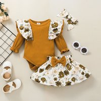 Baby Long Sleeves Rib Rompers+Skirts Set Fall 2021 Children Boutique Clothing 0-2T Toddler Girls Suit Party Clothes