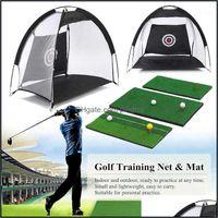 Aids Sports & Outdoorsindoor Foldable Hitting Cage Practice Net Trainer Aid Mat + Driver Iron Garden Grassland Golf Training Equipment1 Drop