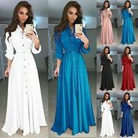 2020 Новые Летние Осенние Женские Кнопки V Вырека Рукава Сплошной Черный Красный Свободные Большой Размер Длинные Maxi Платье Женщины Модный Модный