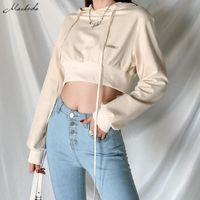 Macheda осень зима абрикос повседневная толстовки женщин мода теплые длинные рукава толстовки сплошной леди короткая одежда Топ 2021 женские