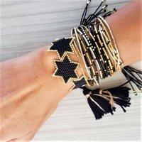 GO2BOHO Handmade Miyuki pulseira para mulheres moda preto estrela jóias homens jóias design braceletes pulseras