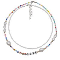 Bohemian Colorful Beads Chain Love letras Collar para las mujeres Garguería corta con cuentas Collares de perlas de la joyería Regalo de Navidad 2pcs / Set 371 G2