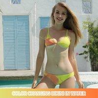 Summer Swimwear for Women color changing bikini in water Set Two Piece tankini swimsuits Sexy solid split women's swimsuit XS S M L XL