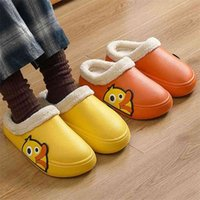 Women Men Slippers 3d Embroidery Cartoon Duck Winter Warm Plush Shoes Waterproof Couple Home Indoor House Memory Form Fur Slides 210914