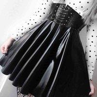 Suchcute Damen Gothic Harajuku Bandage Faux Leder Korean Mode Schwarz Mini Falten Röcke Sommer Party PU Saias