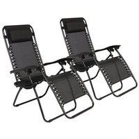 US stock 2pcs Black Patio Benches Portable Folding Chairs with Saucer Plum Blossom Lock for security