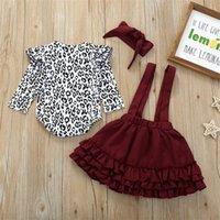 Neonata Abbigliamento Set Set 0-24m Leopard Neonato Neonato Autunno Spring Molla Manica lunga Romper Romper Ruffles Gonne Outfit Baby Girl Costumi 202 Y2