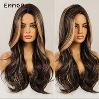 Synthetische Perücken Emmor Natürliche lange mittlere Teil Haarperücke Schwarzbraun mit blonden Cosplay Wellenförmigen Mode Hitzebeständigkeit für Frauen