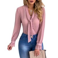 Fashion Loose Long Sleeve Top Casual V-Neck Women Blouse The Slightly Transparent Shirt Plus Size S-5XL