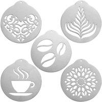 5pcs / 세트 304 스테인레스 스틸 스텐실 바리 스타 카푸치노 예술 템플릿 커피 화환 금형 주방 케이크 장식 도구