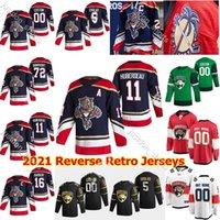 새로운 플로리다 팬더 2021 Reverse Retro Hockey Jerseys 72 Sergei Bobrovsky Aaron Ekblad Aleksander Barkov Jonathan Huberdeau 맞춤형 스티치