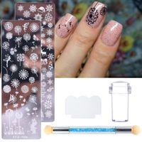 Perfectionsnail штамповка плитеров набор листьев одуванчик снежинки для ногтей трафареты силиконовые струйные губка кисточка ногтей арт дизайн glstzn01-12-2