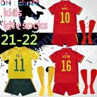 Kids Kit + Socks 2021 2022 2022 ويلز لكرة القدم جيرسي كأس 20 21 22 Bale Allen James Ben Davies Wilson Camisetas Team Home Football Jerseys Shirts