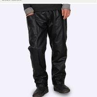 Toptan Düz Siyah Deri Pantolon Erkekler Moda Araba Yıkama Toz Geçirmez Şef İş Giysileri Gevşek Elastik Bel Side DFF1140