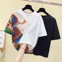 Women's T-Shirt 2021 Summer Top Vintage Print Patchwork Loose T Women Short Sleeve Drilling Tee Femme Fashion White Black tshirt P
