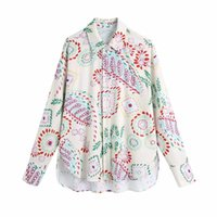Women's Blouses & Shirts 2021 Shirt Fashion Retro Printing Lapel Single-breasted Spring Women Casual Chic Street Youth Student
